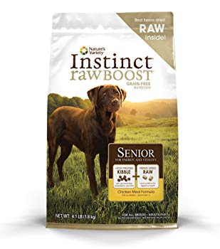 Nature's Variety Instinct Raw Boost Senior Grain Free Chicken Meal Formula Natural Dry Dog Food by, 4.1 lb. Bag