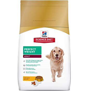 Hill's Science Diet Adult Perfect Weight Dog Food, Chicken Recipe Dry Dog Food for healthy weight and weight management, 15 lb Bag