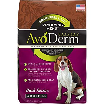 AvoDerm Revolving Menu Grain Free Adult Dry Dog Food, Real Duck Recipe, 22-Pound
