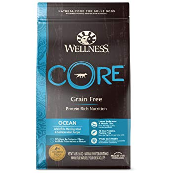 Wellness CORE Natural Grain Free Dry Dog Food, Ocean Whitefish, Herring & Salmon, 4-Pound Bag