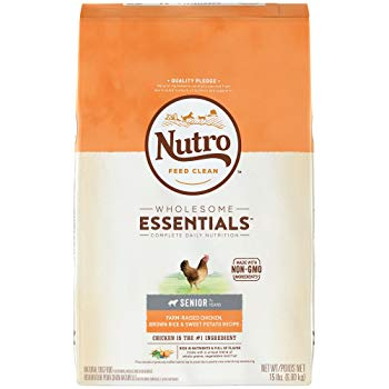 Nutro Wholesome Essentials Senior Dry Dog Food Farm-Raised Chicken, Brown Rice & Sweet Potato Recipe, 15 lb. Bag