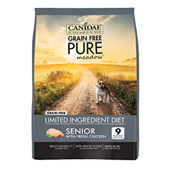 CANIDAE Grain Free PURE Meadow Senior Dog Dry Formula with Fresh Chicken, 24 lbs