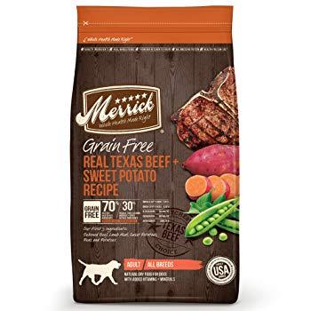 Merrick Grain Free Real Texas Beef & Sweet Potato Dry Dog Food, 25 lbs