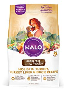 Halo Grain Free Natural Dry Dog Food, Senior Turkey, Turkey Liver & Duck Recipe