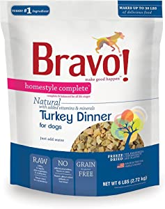 Bravo! Homestyle Complete Turkey Dinner Grain-Free Freeze-Dried Dog Food