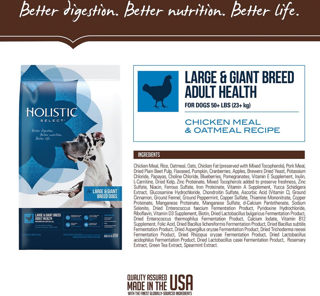Holistic Select Large & Giant Breed Adult Health Chicken Meal & Oatmeal Recipe Dry Dog Food